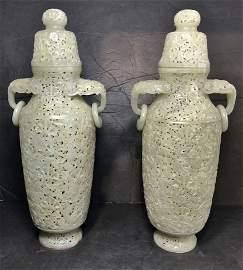 Pair of magnificent Chinese jade vases, c.1930