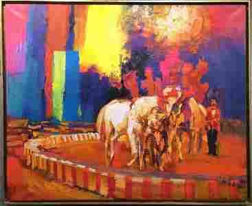Large painting of the circus by Nicola Simbari,62 x 51
