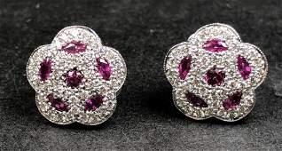 18k ruby diamond earrings, 14k backs, c.1975