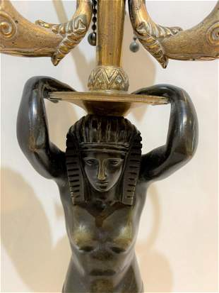 19th century Egyptian style bronze lamp, c.1860