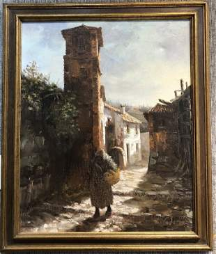 Painting of a Spanish village by Manuel Cuberos