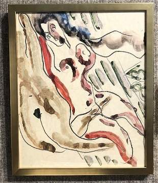 Watercolor of laughing nude by Anatoly Zverev