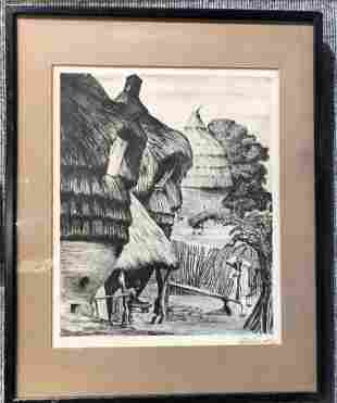 Lithograph of Mexican village by Leopoldo Mendez