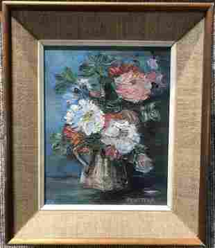 Painting of flowers by Antonio Privitera(Italian 20thc)