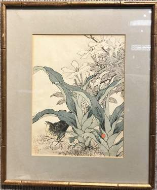 Japanese woodblock of bird and flowers by Keinen(Imao)