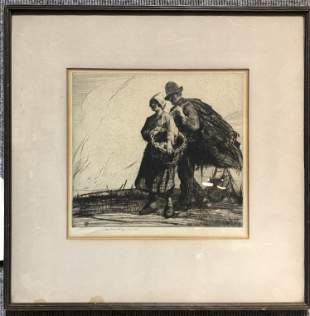 Farm couple engraving by W.Lee Hankey