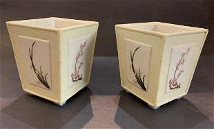 Pair of Chinese small porcelain planters