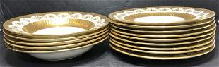 Eight Tiffany and Co Minton plates,5 match Minton bowls
