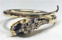 14k serpent diamond enamel braceletc 1900  129 dwt