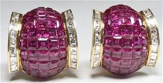 Gorgeous natural ruby diamond earrings GIA