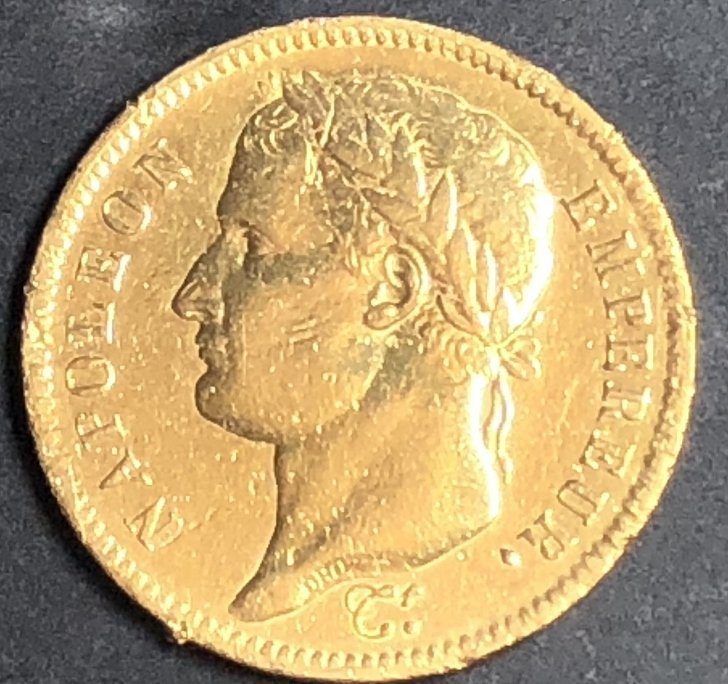 22k French 1811 gold coin, 40 Francs-8.2 dwts