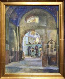 Watercolor of Church by Evgeni Lansere,c.1910