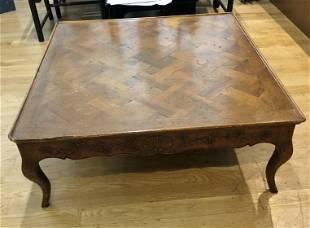 Inlaid wood coffee table