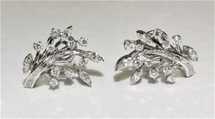 18k white gold diamond ear clips, 8.3 dwts