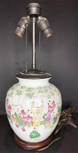 Chinese porcelainboys playinglamp