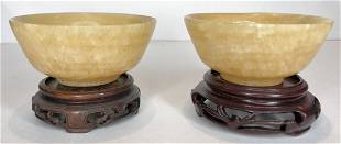 Pair of hardstone Chinese bowls
