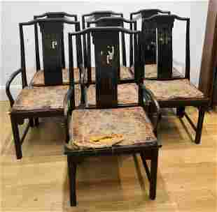 Set of 7 wood chairs with Chinese design