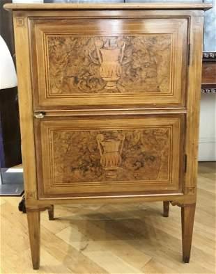 Inlaid wood cabinet, Neoclassical form