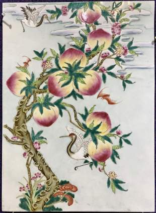 Chinese porcelain plaque with peaches,c.1975