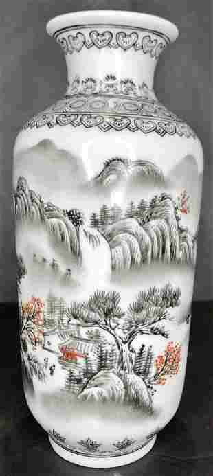 Small black and white Japanese vase 8.75 inches high
