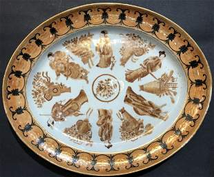 James Gallery orange platter with Chinese figures