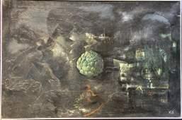 Artichoke at night painting by Xavier Gonzalez