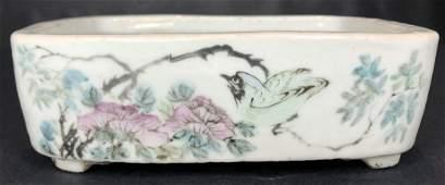 Chinese porcelain brush washer, w/writing, birds