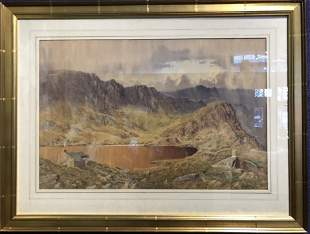 Large 19th century watercolor by Issac Cookesigned