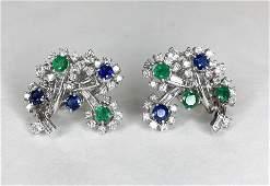 Drop dead plat emerald diam sapp Petochi earclips