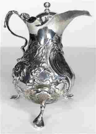 Silver creamer 18th cen repaired rim 361 t oz