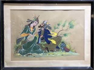 Watercolorgouache of Persian lovers signed