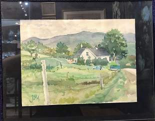 Watercolor of driveway signed and dated 1971