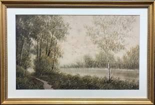 Watercolor of woods signed NJVan Horn c1880