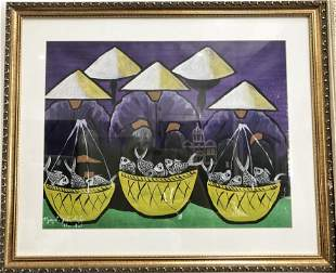 Vietnamese watercolor of fishermen
