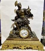 Greek bronze warrior on clock, c.1880