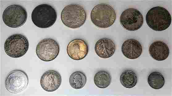 Eighteen silver coins 885 t oz
