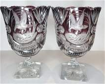 Pair purple cut to clear vases, flying birds, flowers