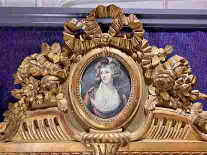 Large gilt wood mirror,faux painting in oval,c.1900