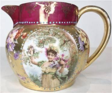 Royal Vienna style portrait pitcherc1920