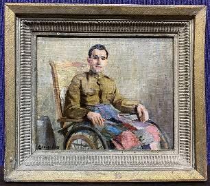 George Luks, ptg of military man in wheelchair,c.1920