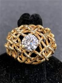14k ring w/1.54 carat round diamond, GIA,F VS1