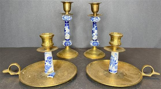 Brass and blue and white porc candlesticks