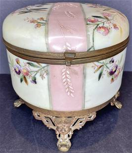 Porcelain dresser box on metal legs