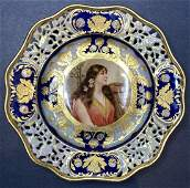 Royal Vienna portrait plate with harp
