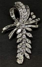 Platinum and diam bow brooch,c.1960, 10.65 dwts