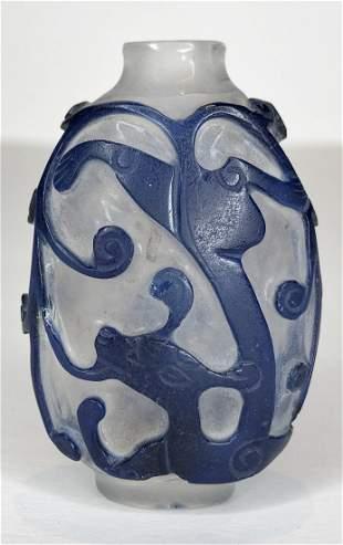Chinese blue Peking glass snuff bottle