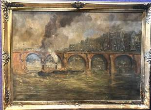 19th century painting of bridge and steamboats