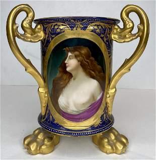 Royal Vienna 3 handle vase w/ portrait, c1900