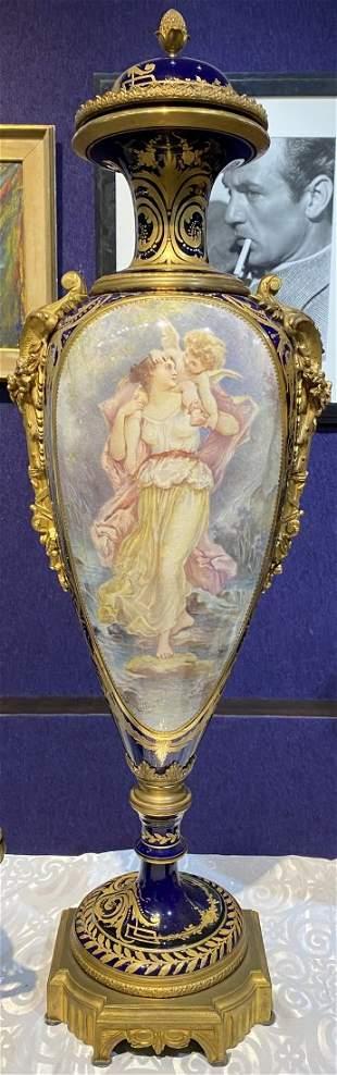 Sevres Royal blue covered vase c.1900.Ormolu.