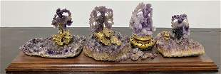 Chinese amethyst group of carvings(4)
